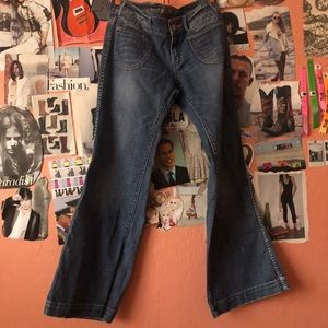 American Eagle Outfitters low-rise wide flares